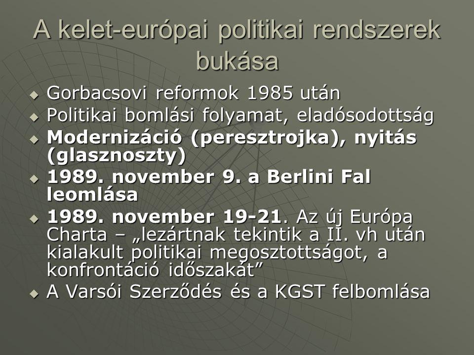 A kelet-európai politikai rendszerek bukása  Gorbacsovi reformok 1985 után  Politikai bomlási folyamat, eladósodottság  Modernizáció (peresztrojka), nyitás (glasznoszty)  1989.