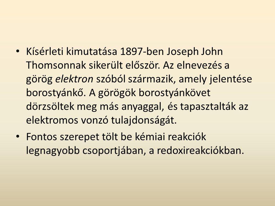 Kísérleti kimutatása 1897-ben Joseph John Thomsonnak sikerült először.