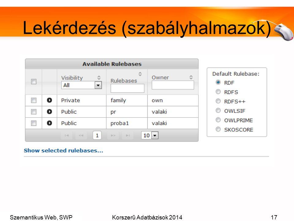 Szemantikus Web, SWPKorszerű Adatbázisok 201417 Lekérdezés (szabályhalmazok)
