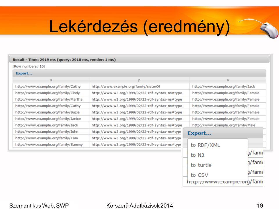 Szemantikus Web, SWPKorszerű Adatbázisok 201419 Lekérdezés (eredmény)