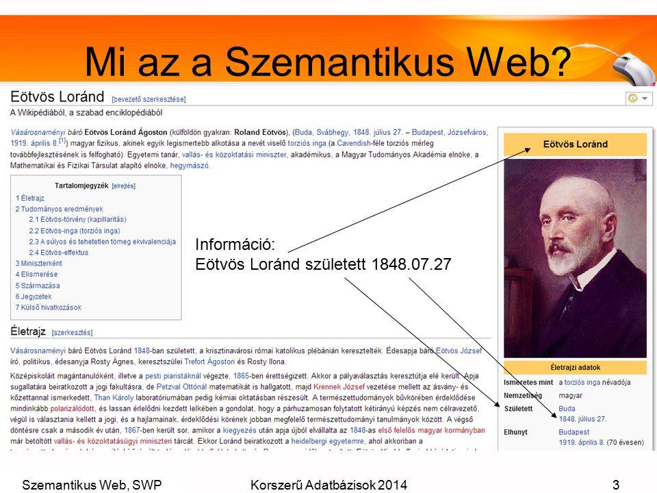 Szemantikus Web, SWPKorszerű Adatbázisok 20143 Mi az a Szemantikus Web? Információ: Eötvös Loránd született 1848.07.27