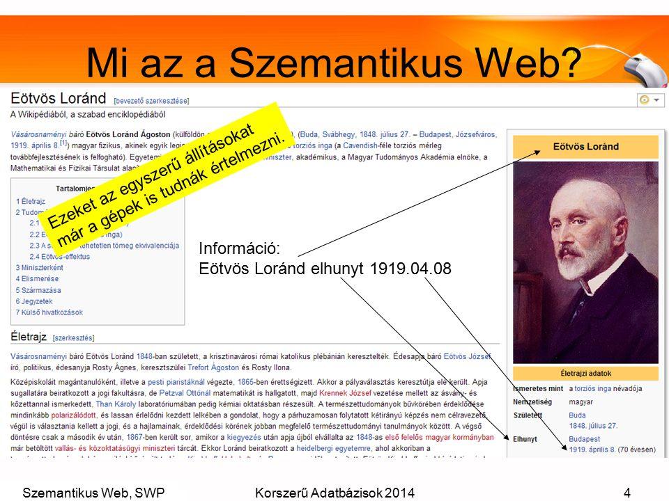 Szemantikus Web, SWPKorszerű Adatbázisok 20144 Mi az a Szemantikus Web? Információ: Eötvös Loránd elhunyt 1919.04.08 Ezeket az egyszerű állításokat má