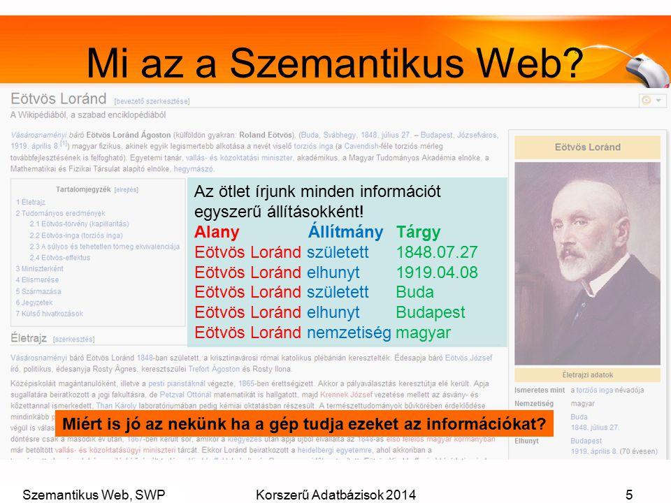 Szemantikus Web, SWPKorszerű Adatbázisok 20145 Mi az a Szemantikus Web? Az ötlet írjunk minden információt egyszerű állításokként! Alany ÁllítmányTárg
