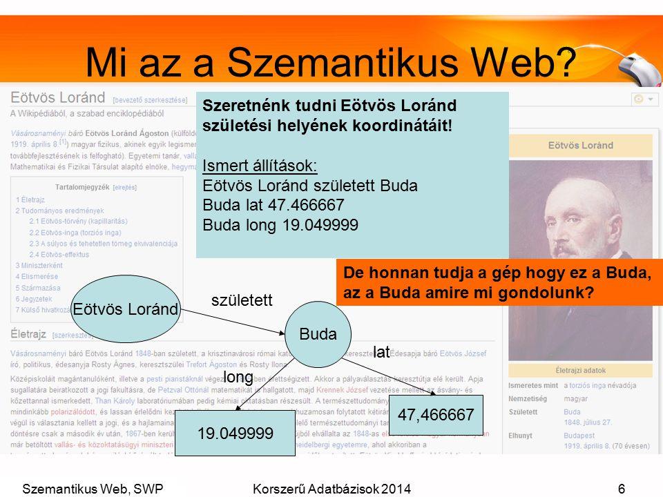 Szemantikus Web, SWPKorszerű Adatbázisok 20146 Mi az a Szemantikus Web? Szeretnénk tudni Eötvös Loránd születési helyének koordinátáit! Ismert állítás