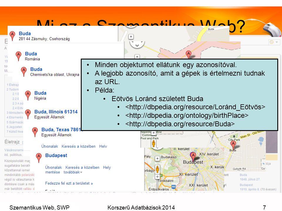 Szemantikus Web, SWPKorszerű Adatbázisok 20147 Mi az a Szemantikus Web? Minden objektumot ellátunk egy azonosítóval. A legjobb azonosító, amit a gépek