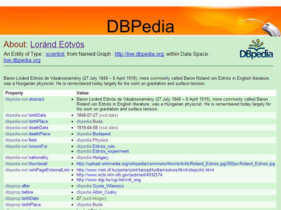 Szemantikus Web, SWPKorszerű Adatbázisok 20148 DBPedia