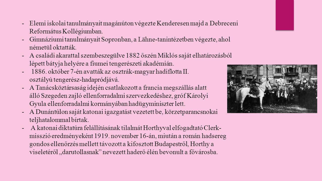 -B-Bár Horthy Miklós az 1920-as és 30-as években visszahúzódott a napi politikától, szerepe a terület- visszacsatolások kapcsán ismét megnőtt a magyar hadsereg főparancsnokaként.