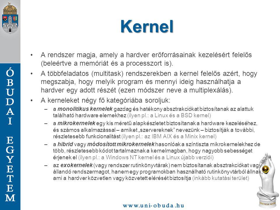 Kernel A rendszer magja, amely a hardver erőforrásainak kezelésért felelős (beleértve a memóriát és a processzort is). A többfeladatos (multitask) ren