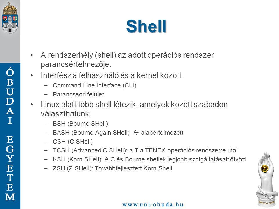 Shell A rendszerhély (shell) az adott operációs rendszer parancsértelmezője. Interfész a felhasználó és a kernel között. –Command Line Interface (CLI)