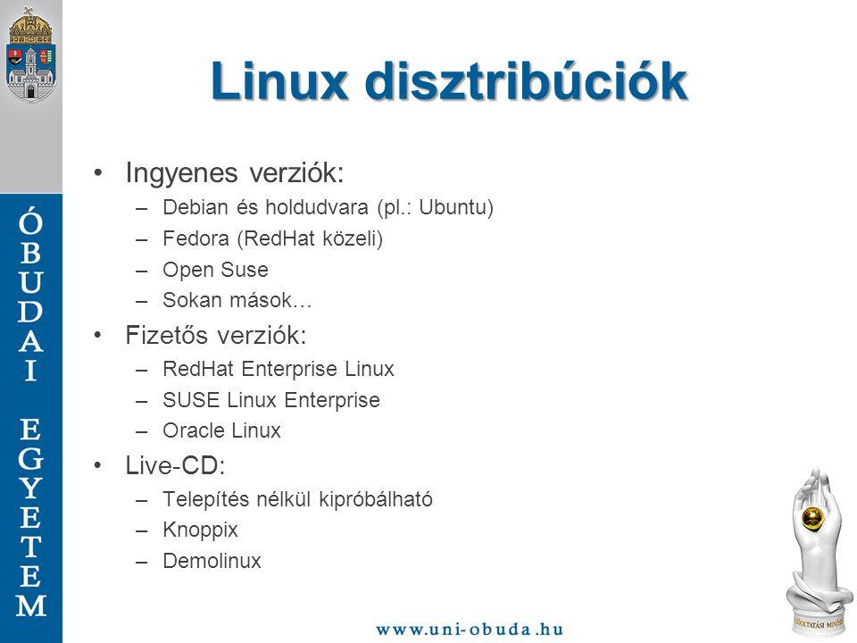 Linux disztribúciók Ingyenes verziók: –Debian és holdudvara (pl.: Ubuntu) –Fedora (RedHat közeli) –Open Suse –Sokan mások… Fizetős verziók: –RedHat En