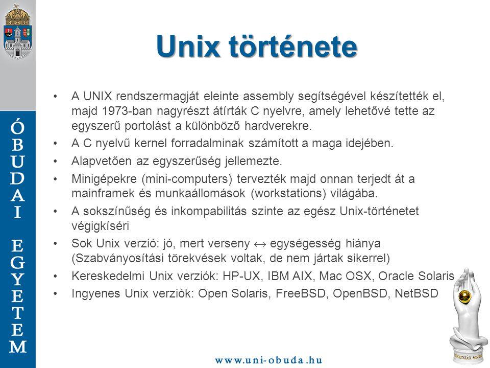 Unix története A UNIX rendszermagját eleinte assembly segítségével készítették el, majd 1973-ban nagyrészt átírták C nyelvre, amely lehetővé tette az