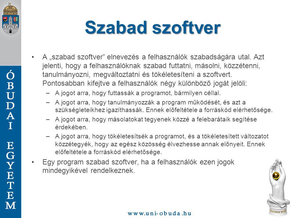 Hasznos linkek http://www.hup.hu – Hungarian Unix Portalhttp://www.hup.hu http://www.kernel.org – Linux kernel helyehttp://www.kernel.org http://www.distrowatch.com – Különböző disztribúciók összegyűjtvehttp://www.distrowatch.com http://hogyan.org/ – Linux tutorialok magyarulhttp://hogyan.org/ http://www.howtoforge.com/ – Linux tutorialok angolulhttp://www.howtoforge.com/ http://www.google.hu és http://hu.wikipedia.org/ Hiszen a Google a barátod és a Wiki a barátnőd http://www.google.huhttp://hu.wikipedia.org/