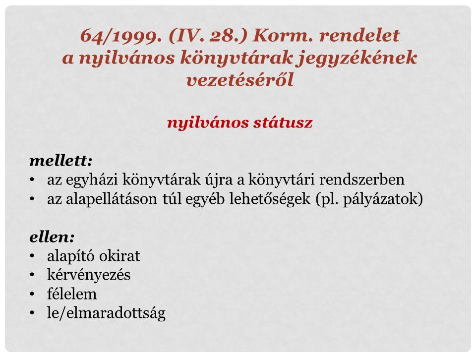 64/1999. (IV. 28.) Korm. rendelet a nyilvános könyvtárak jegyzékének vezetéséről nyilvános státusz mellett: az egyházi könyvtárak újra a könyvtári ren