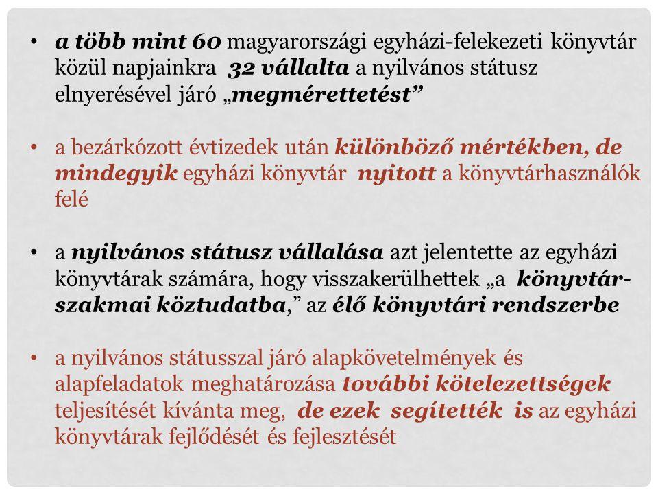 """a több mint 60 magyarországi egyházi-felekezeti könyvtár közül napjainkra 32 vállalta a nyilvános státusz elnyerésével járó """"megmérettetést"""" a bezárkó"""