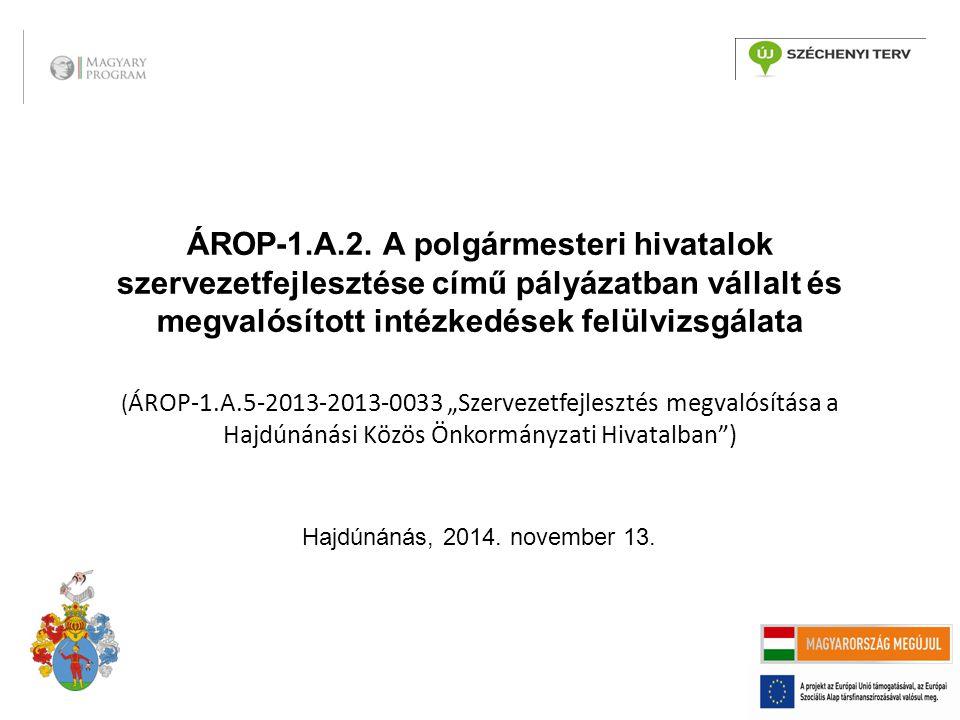 ÁROP-1.A.2. A polgármesteri hivatalok szervezetfejlesztése című pályázatban vállalt és megvalósított intézkedések felülvizsgálata ( ÁROP-1.A.5-2013-20