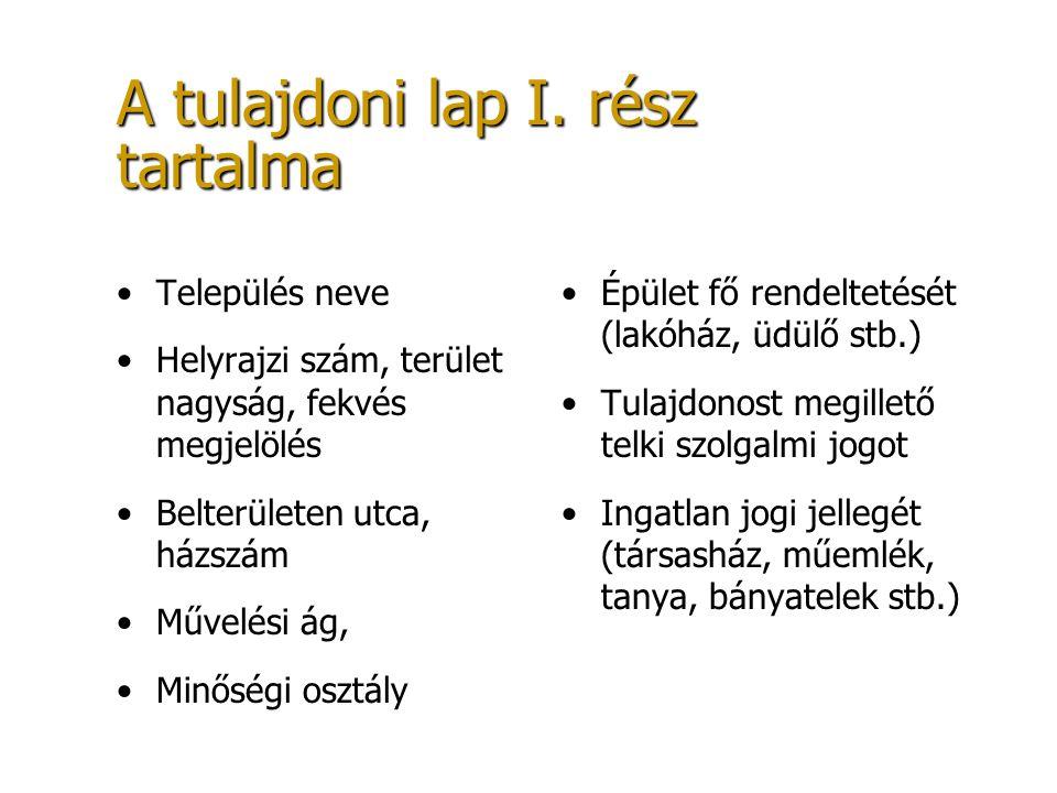 A tulajdoni lap I. rész tartalma Település neve Helyrajzi szám, terület nagyság, fekvés megjelölés Belterületen utca, házszám Művelési ág, Minőségi os