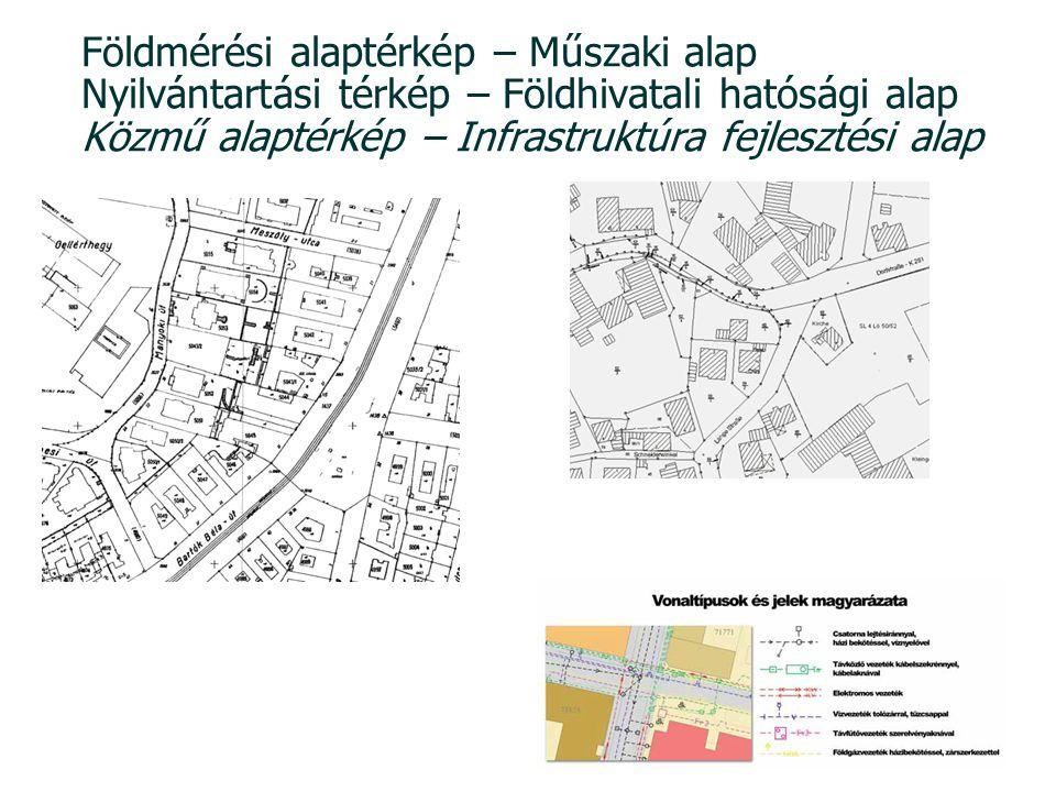 Földmérési alaptérkép – Műszaki alap Nyilvántartási térkép – Földhivatali hatósági alap Közmű alaptérkép – Infrastruktúra fejlesztési alap 1: 1000 Bp-