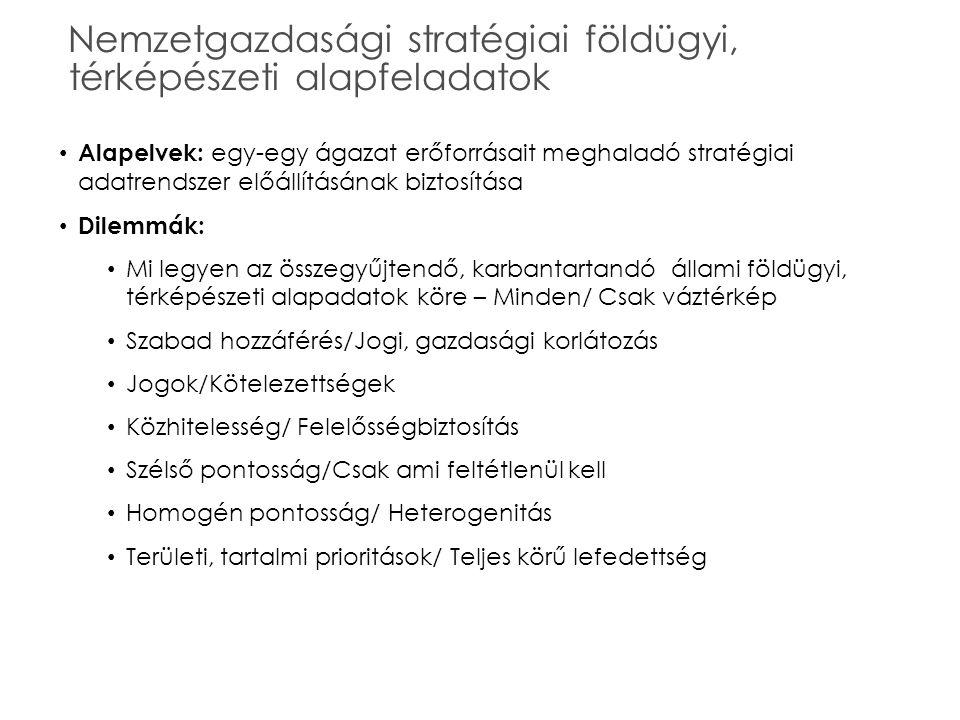 Nemzetgazdasági stratégiai földügyi, térképészeti alapfeladatok Alapelvek: egy-egy ágazat erőforrásait meghaladó stratégiai adatrendszer előállításána