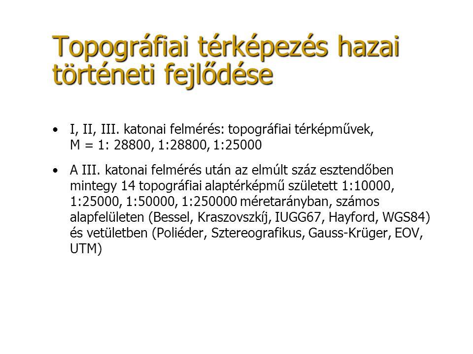 Topográfiai térképezés hazai történeti fejlődése I, II, III. katonai felmérés: topográfiai térképművek, M = 1: 28800, 1:28800, 1:25000 A III. katonai
