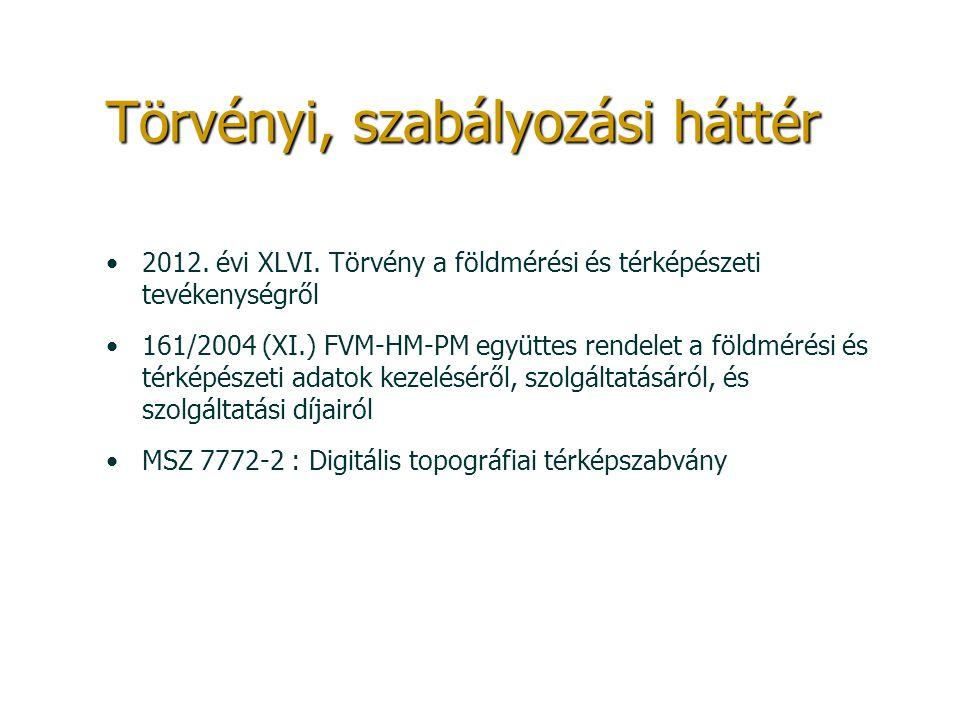 Törvényi, szabályozási háttér 2012. évi XLVI. Törvény a földmérési és térképészeti tevékenységről 161/2004 (XI.) FVM-HM-PM együttes rendelet a földmér