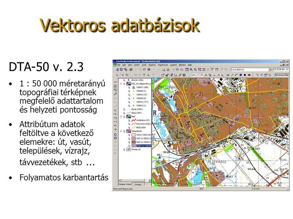 Vektoros adatbázisok DTA-50 v. 2.3 1 : 50 000 méretarányú topográfiai térképnek megfelelő adattartalom és helyzeti pontosság Attribútum adatok feltölt