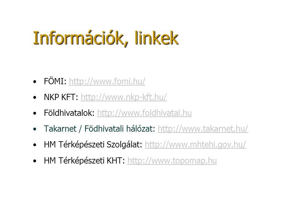 Információk, linkek FÖMI: http://www.fomi.hu/http://www.fomi.hu/ NKP KFT: http://www.nkp-kft.hu/http://www.nkp-kft.hu/ Földhivatalok: http://www.foldh