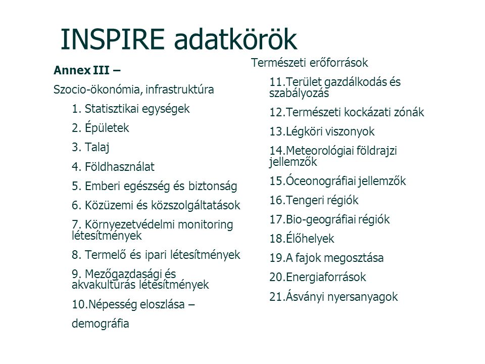 INSPIRE adatkörök Annex III – Szocio-ökonómia, infrastruktúra 1. Statisztikai egységek 2. Épületek 3. Talaj 4. Földhasználat 5. Emberi egészség és biz