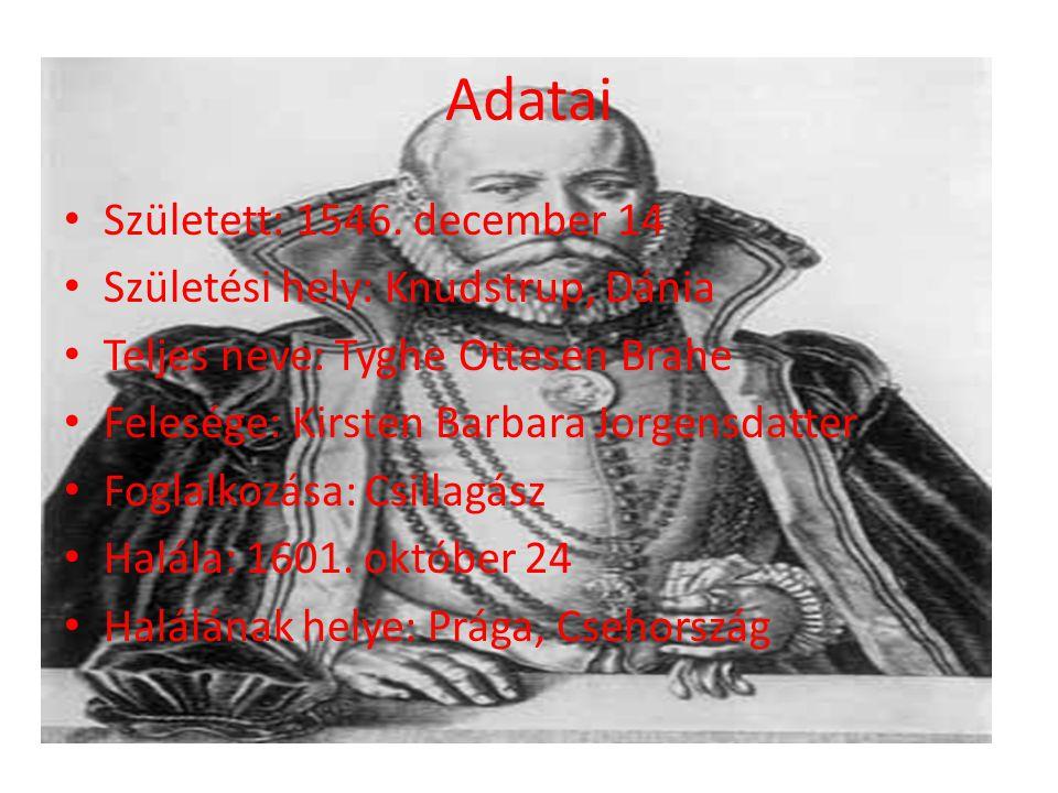 Adatai Született: 1546. december 14 Születési hely: Knudstrup, Dánia Teljes neve: Tyghe Ottesen Brahe Felesége: Kirsten Barbara Jorgensdatter Foglalko