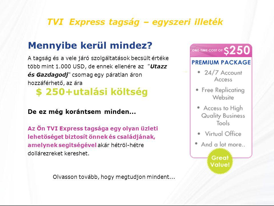 TVI Express tagság – egyszeri illeték Mennyibe kerül mindez.