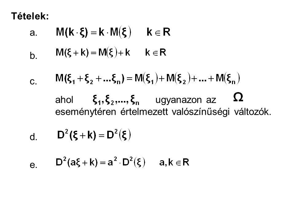Tételek: a. b. c. ahol ugyanazon az eseménytéren értelmezett valószínűségi változók. d. e.