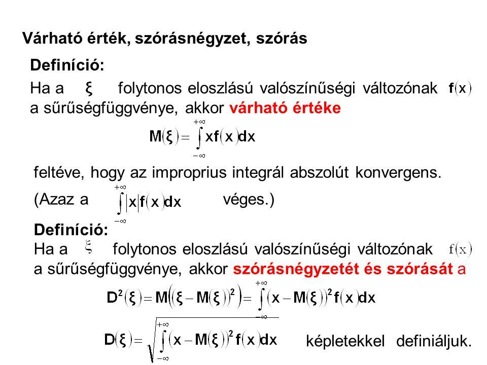 Várható érték, szórásnégyzet, szórás Definíció: Ha a folytonos eloszlású valószínűségi változónak a sűrűségfüggvénye, akkor várható értéke feltéve, hogy az improprius integrál abszolút konvergens.
