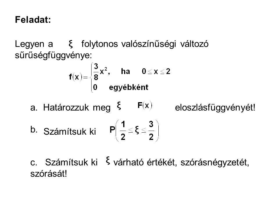 Feladat: Legyen a folytonos valószínűségi változó sűrűségfüggvénye: a.