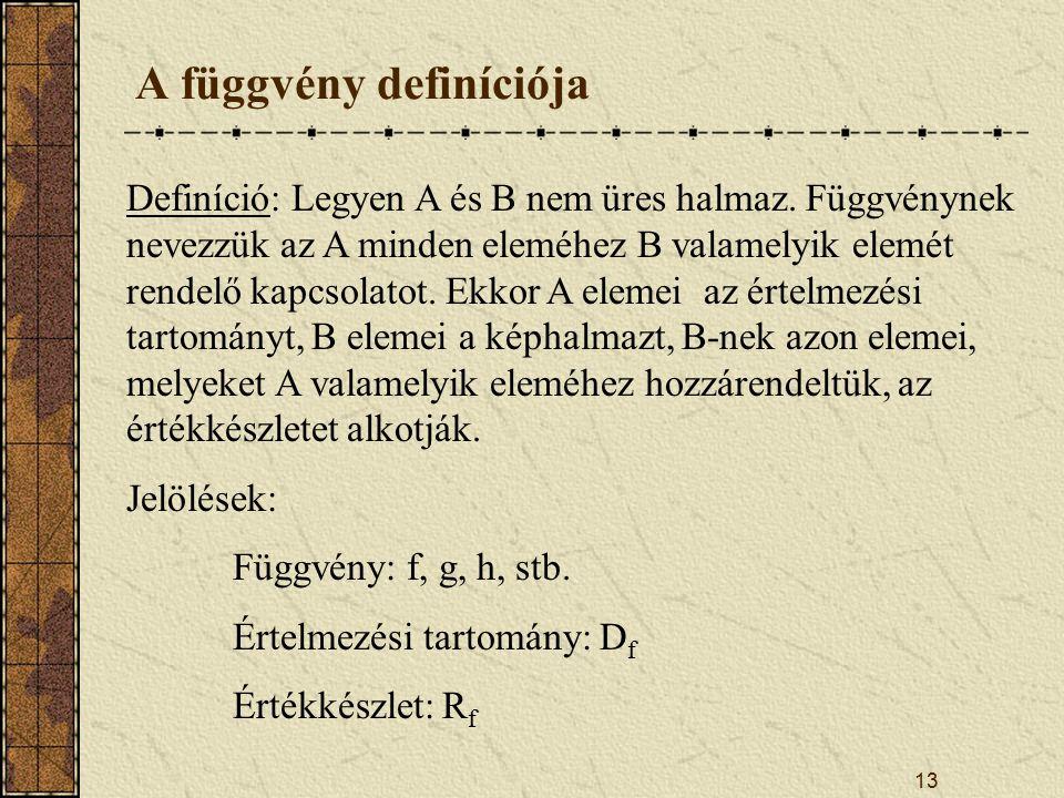 13 Definíció: Legyen A és B nem üres halmaz.