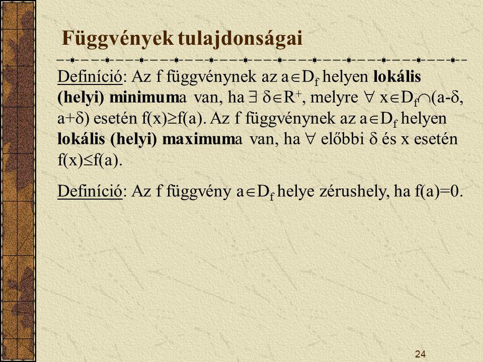 24 Függvények tulajdonságai Definíció: Az f függvénynek az a  D f helyen lokális (helyi) minimuma van, ha   R +, melyre  x  D f  (a- , a+  ) esetén f(x)  f(a).