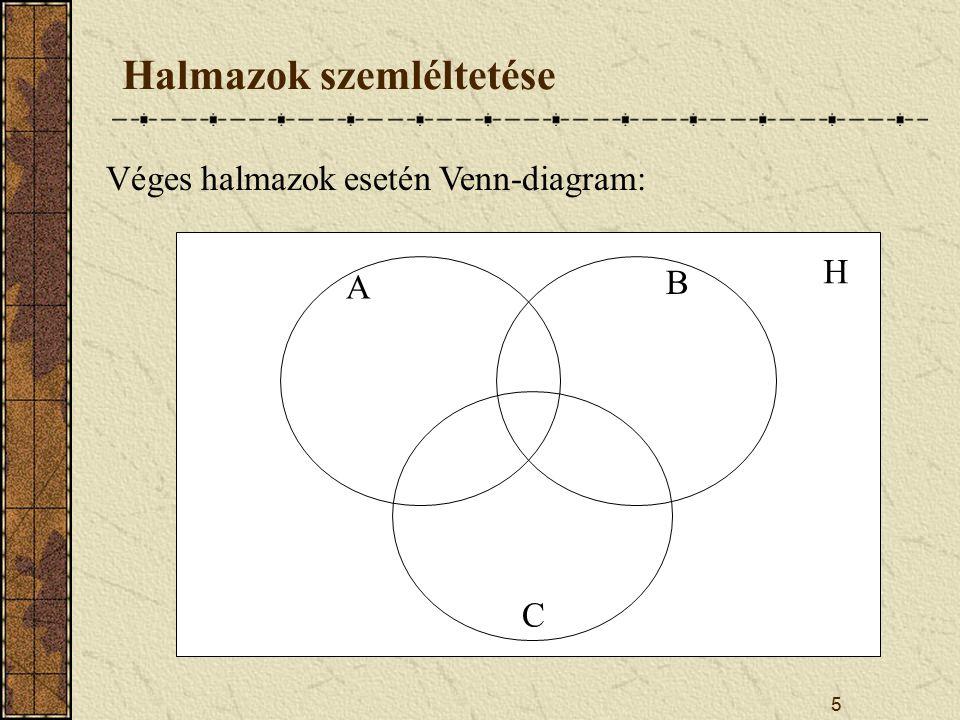 5 Halmazok szemléltetése Véges halmazok esetén Venn-diagram: H A B C