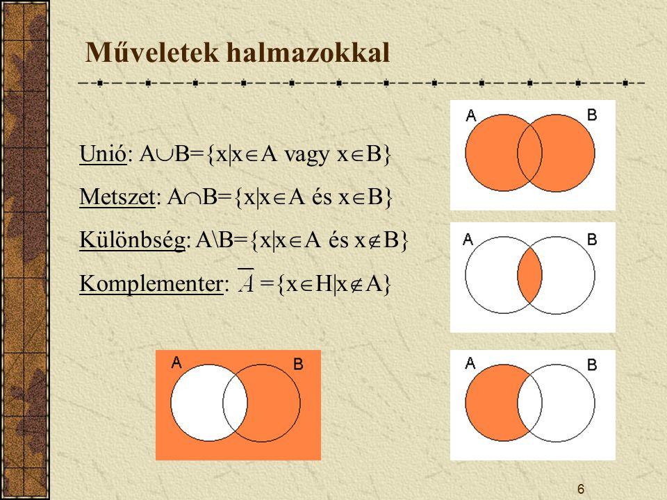 6 Műveletek halmazokkal Unió: A  B={x|x  A vagy x  B} Metszet: A  B={x|x  A és x  B} Különbség: A\B={x|x  A és x  B} Komplementer: ={x  H|x  A}