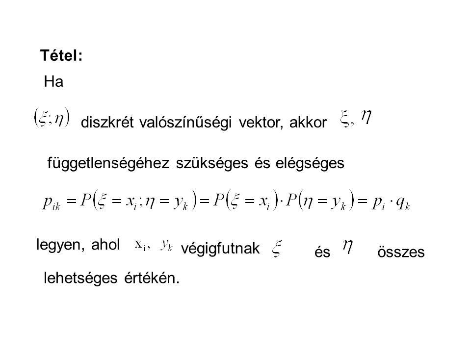 Tétel: Ha diszkrét valószínűségi vektor, akkor függetlenségéhez szükséges és elégséges legyen, ahol végigfutnak ésösszes lehetséges értékén.
