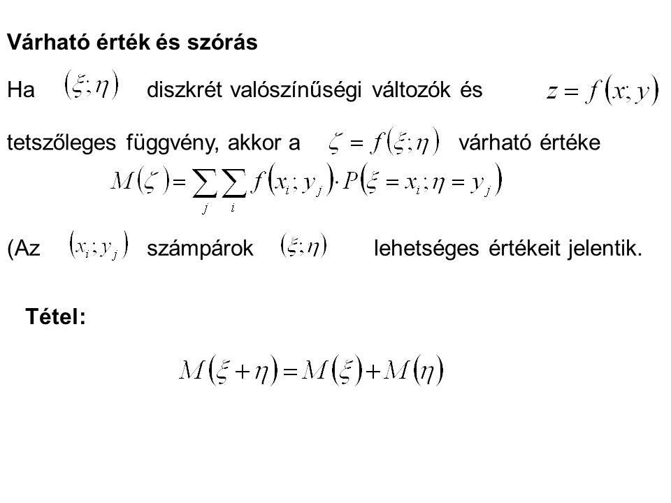 Várható érték és szórás Hadiszkrét valószínűségi változók és tetszőleges függvény, akkor avárható értéke (Azszámpároklehetséges értékeit jelentik. Tét