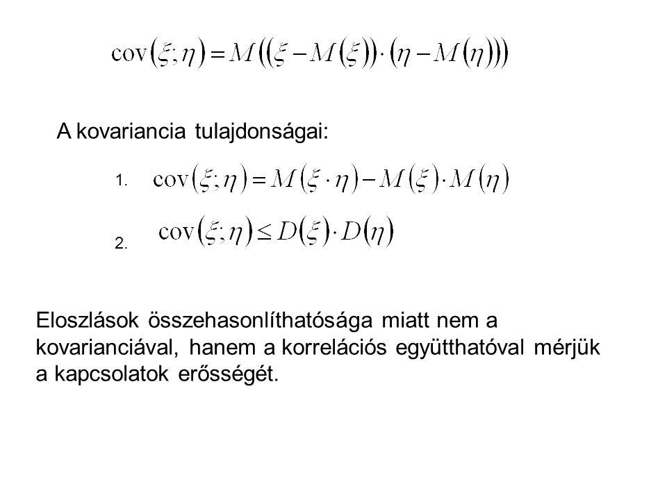 A kovariancia tulajdonságai: 1. 2. Eloszlások összehasonlíthatósága miatt nem a kovarianciával, hanem a korrelációs együtthatóval mérjük a kapcsolatok