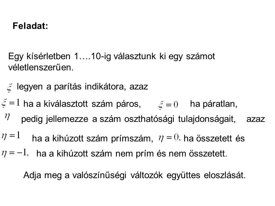 Feladat: Egy kísérletben 1….10-ig választunk ki egy számot véletlenszerűen. legyen a parítás indikátora, azaz ha a kiválasztott szám páros,ha páratlan