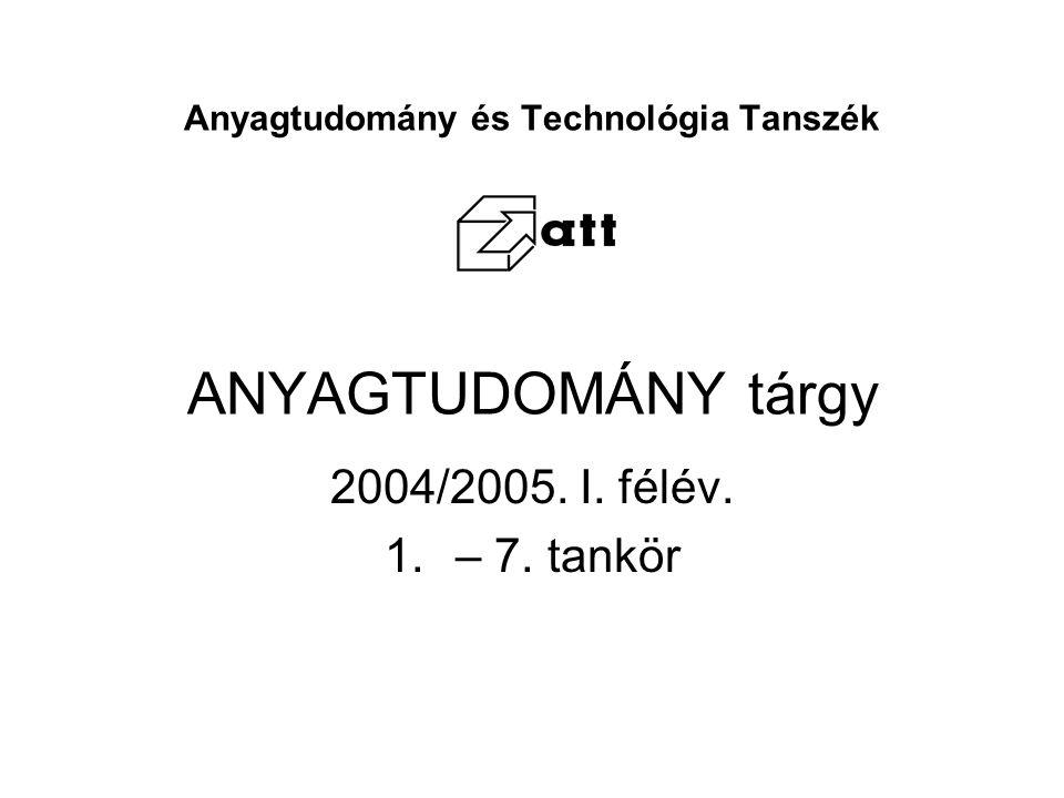 Anyagtudomány és Technológia Tanszék ANYAGTUDOMÁNY tárgy 2004/2005. I. félév. 1.– 7. tankör
