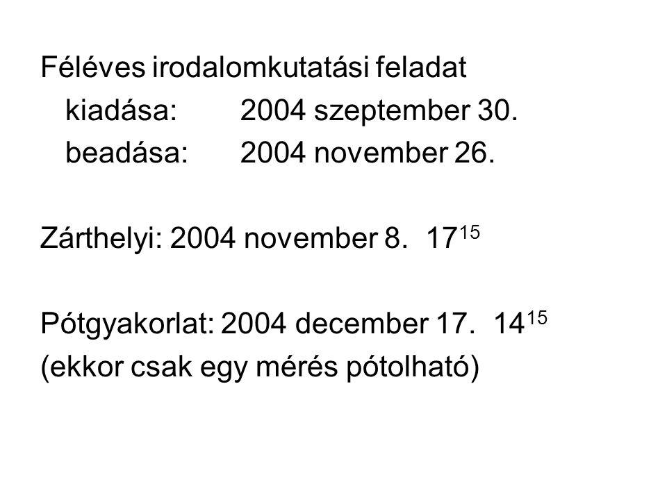 Féléves irodalomkutatási feladat kiadása:2004 szeptember 30.