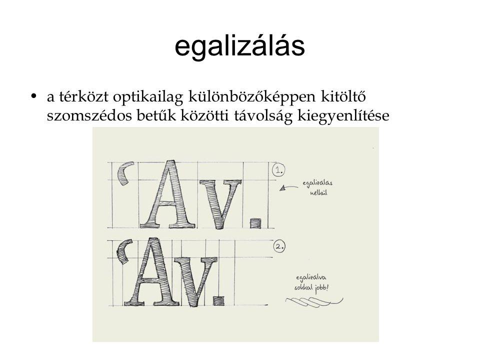 egalizálás a térközt optikailag különbözőképpen kitöltő szomszédos betűk közötti távolság kiegyenlítése