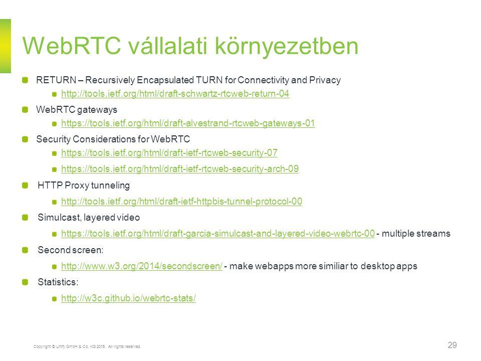 Copyright © Unify GmbH & Co. KG 2015. All rights reserved. 29 WebRTC vállalati környezetben RETURN – Recursively Encapsulated TURN for Connectivity an