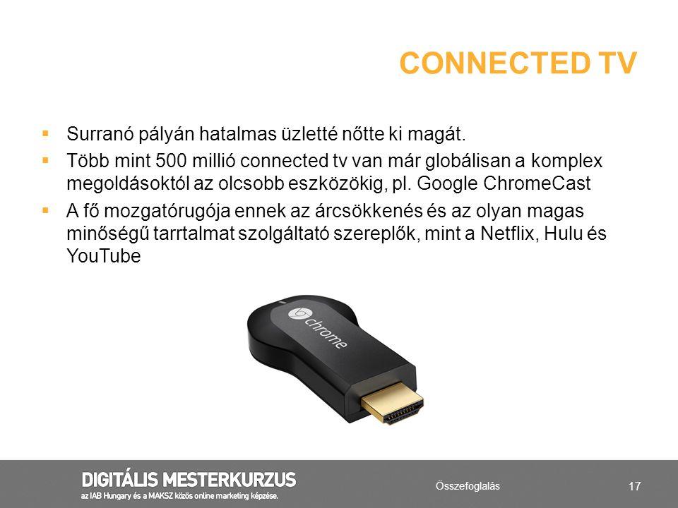 17  Surranó pályán hatalmas üzletté nőtte ki magát.  Több mint 500 millió connected tv van már globálisan a komplex megoldásoktól az olcsobb eszközö