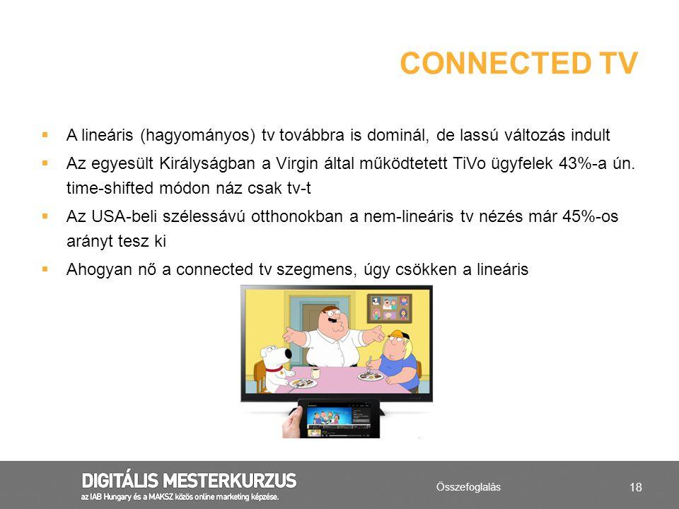 18  A lineáris (hagyományos) tv továbbra is dominál, de lassú változás indult  Az egyesült Királyságban a Virgin által működtetett TiVo ügyfelek 43%