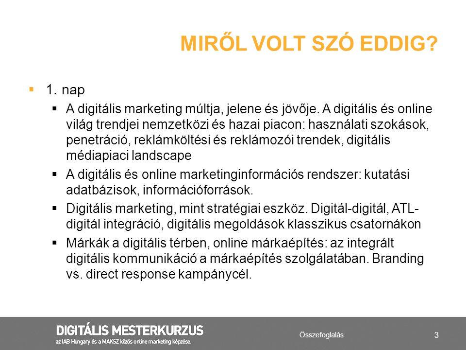 3  1. nap  A digitális marketing múltja, jelene és jövője. A digitális és online világ trendjei nemzetközi és hazai piacon: használati szokások, pen