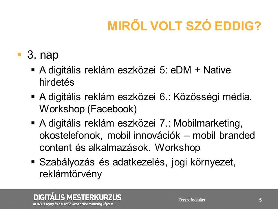 5  3. nap  A digitális reklám eszközei 5: eDM + Native hirdetés  A digitális reklám eszközei 6.: Közösségi média. Workshop (Facebook)  A digitális