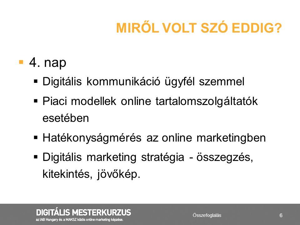 6  4. nap  Digitális kommunikáció ügyfél szemmel  Piaci modellek online tartalomszolgáltatók esetében  Hatékonyságmérés az online marketingben  D