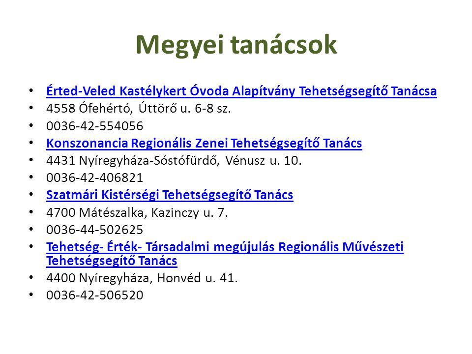 Megyei tanácsok Érted-Veled Kastélykert Óvoda Alapítvány Tehetségsegítő Tanácsa 4558 Ófehértó, Úttörő u. 6-8 sz. 0036-42-554056 Konszonancia Regionáli